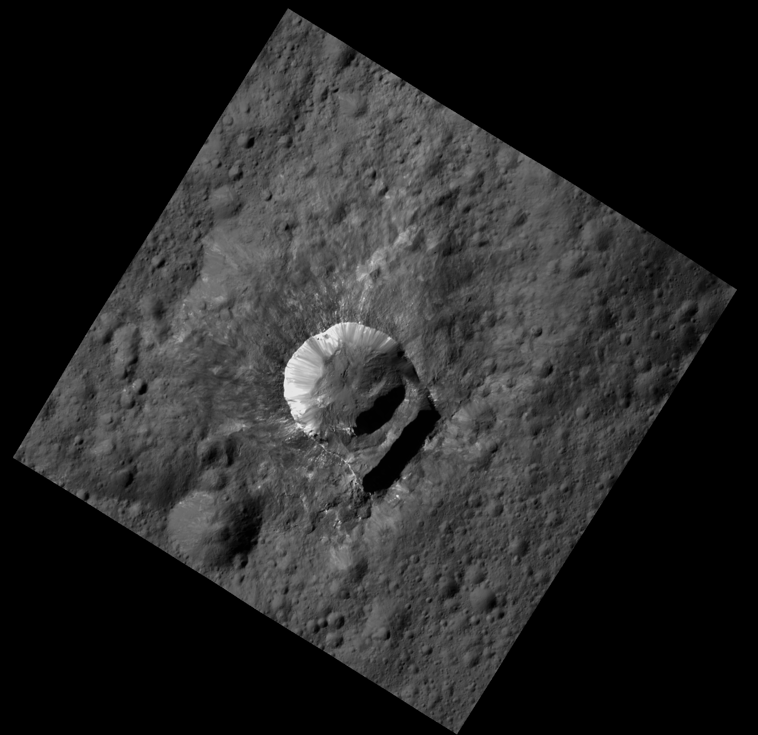 """Oxo Crater is unique because of the relatively large """"slump"""" in its crater rim. Credits: NASA/JPL-Caltech/UCLA/MPS/DLR/IDA/PSI"""