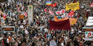 Far-Right Demonstrators March Against Merkel In Berlin