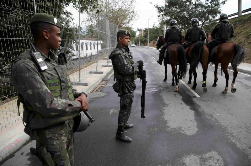 2016 Rio Olympics - Deodoro Stadium - Rio de Janeiro, Brazil - 03/08/2016. Security personnel stand guard outside the Deodoro Stadium. REUTERS/Damir Sagolj