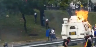 Protesters Force Police Tank To Retreat In Caracas